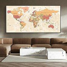 Peinture à l'huile sur toile, carte du monde