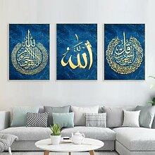 Peinture calligraphique islamique or bleu, affiche