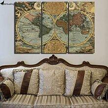 Peinture de carte du monde imprimée Vintage HD,