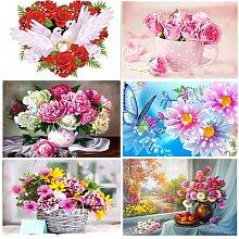 Peinture diamant 5d bricolage, vase de fleurs,