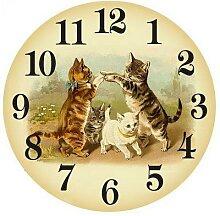 Peinture diamant 5D motif chat, horloge murale