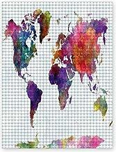 Peinture diamant bricolage 5D,Carte du monde