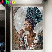 Peinture diamant femme noire africaine, broderie