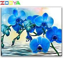 Peinture diamant orchidée bleue, broderie