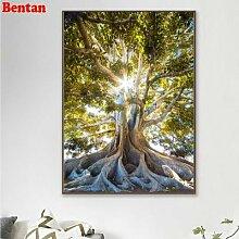 Peinture diamant thème arbre de vie, paysage