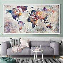 Peinture diamant thème carte du monde, grande