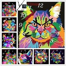 Peinture diamant thème horloge chat et chat,