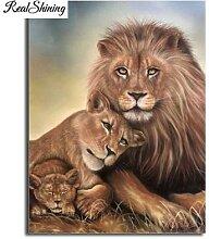 Peinture diamant thème Lions et chiot, mosaïque