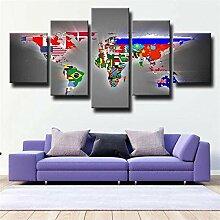 Peinture Sur Toile Art Mural National Flag Carte