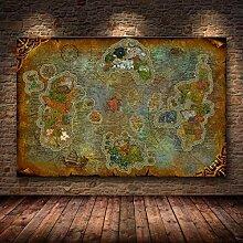 Peinture sur toile décoration carte du monde