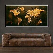Peinture sur toile moderne avec carte du monde