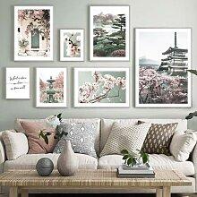 Peinture sur toile murale avec fleurs de cerisier,