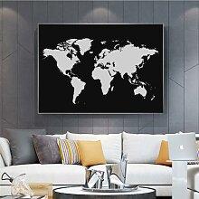 Peintures abstraites de la carte du monde en noir