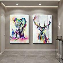 Peintures sur toile colorées de famille de cerfs