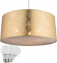 Pendentif classique lampe textile pentes lit et or