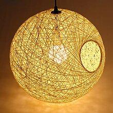 Pendentif en bambou lustre boule de rotin lampe