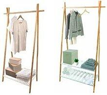 Penderie en bambou : 2 étagères