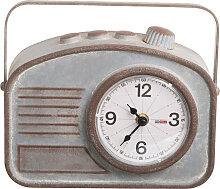 Pendule métal vieille radio 24x20