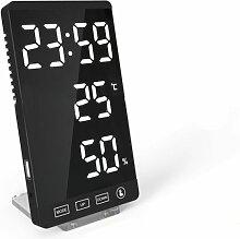 Perle rare Horloge à miroir LED thermomètre et