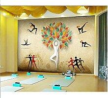 Personnalisé 3D Papier Peint Mural Rétro Yoga