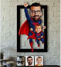 Personnalisé Super père-enfant Caricature de 3D