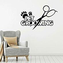 Pet Toilettage Sticker Pur Service Animaux Ciseaux