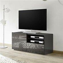 Petit banc TV design gris laqué NERINA 2