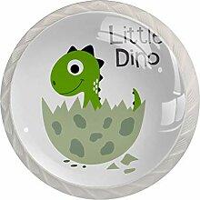 Petit dinosaure vert Blanc Bouton de Meuble en