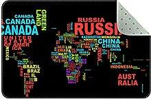 Petit tapis carré noir motif carte du monde de