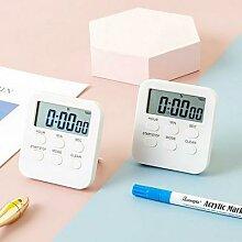 Petite horloge numérique LCD blanche avec alarme