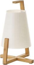 Petite lampe de table en bambou et abat-jour blanc