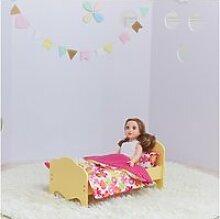 Petite princesse lit de poupée de 45 cm jaune et