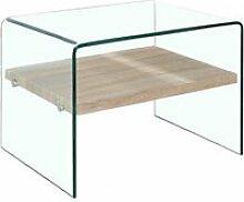 Petite table d'appoint en verre - étagère en