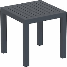 Petite table de jardin en plastique gris foncé