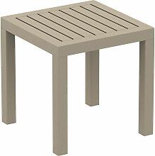 Petite table de jardin en plastique taupe