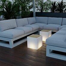 Petite table lumineuse version bois avec câble en