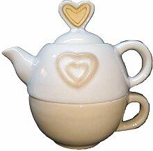 Petite Théière avec Tasse avec Coeur Céramique