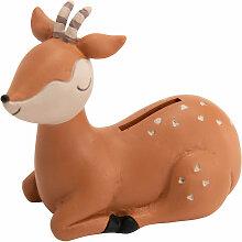 Petite tirelire gazelle en résine
