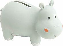 Petite tirelire hippopotame gris