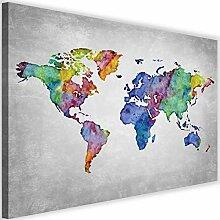 Photo sur Toile XXL Carte du Monde Art Image Déco