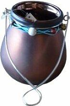 Photophore décoré ruban - chocolat