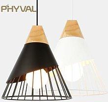 PHYVAL – lampe suspendue en bois moderne E27,