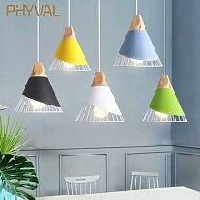 PHYVAL – lampe suspendue Macaron en bois, style
