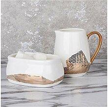 Pichet à Lait Sucre en porcelaine et plate-forme