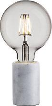 Pied de lampe en marbre blanc