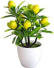 PIGMANA Citron Artificiel Feuilles Vertes