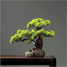 Pin bonsaï Artificiel de 11 Pouces, Plante en Pot
