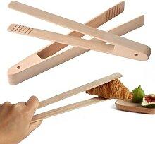 Pince à pain en bois de bambou, ustensiles de