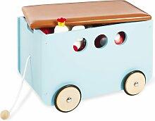 Pinolino Coffre avec roues pour jouets Jim Bleu
