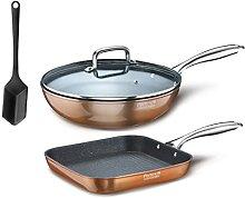Pintinox Set Wok et Poêle grill série Materic et